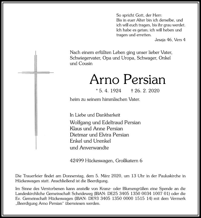 Anzeige von  Arno Persian