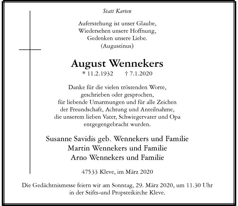 Anzeige von  August Wennekers