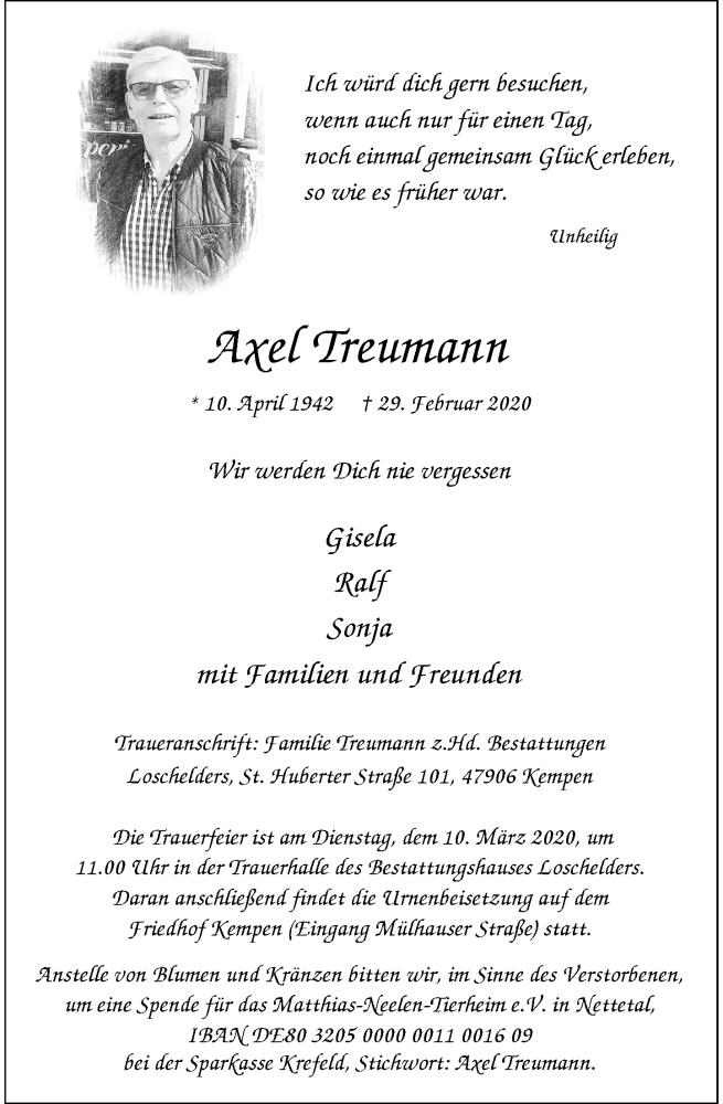 Anzeige von  Axel Treumann
