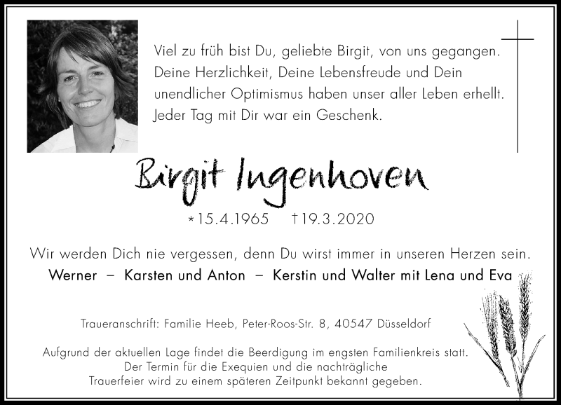 Anzeige von  Birgit Ingenhoven