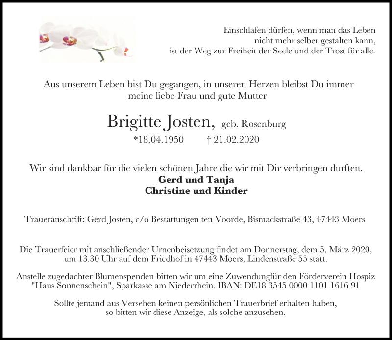 Anzeige von  Brigitte Josten