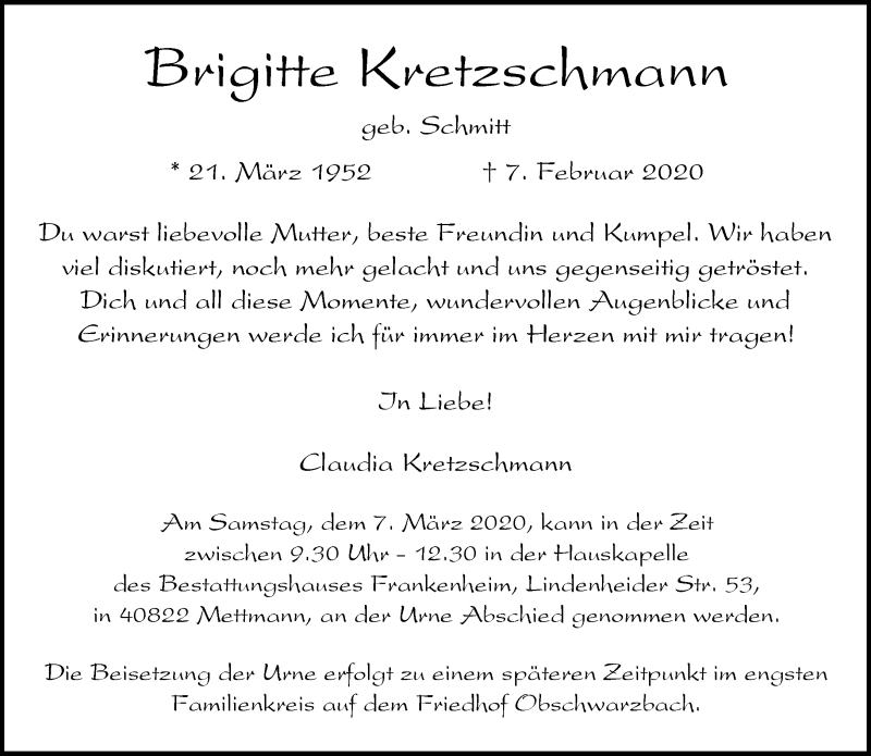 Anzeige von  Brigitte Kretzschmann
