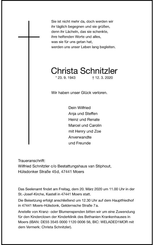 Anzeige von  Christa Schnitzler
