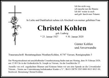 Traueranzeige von Christel Kohlen von Rheinische Post