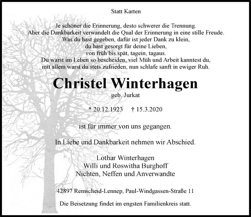 Anzeige von  Christel Winterhagen