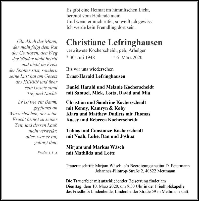 Anzeige von  Christiane Lefringhausen
