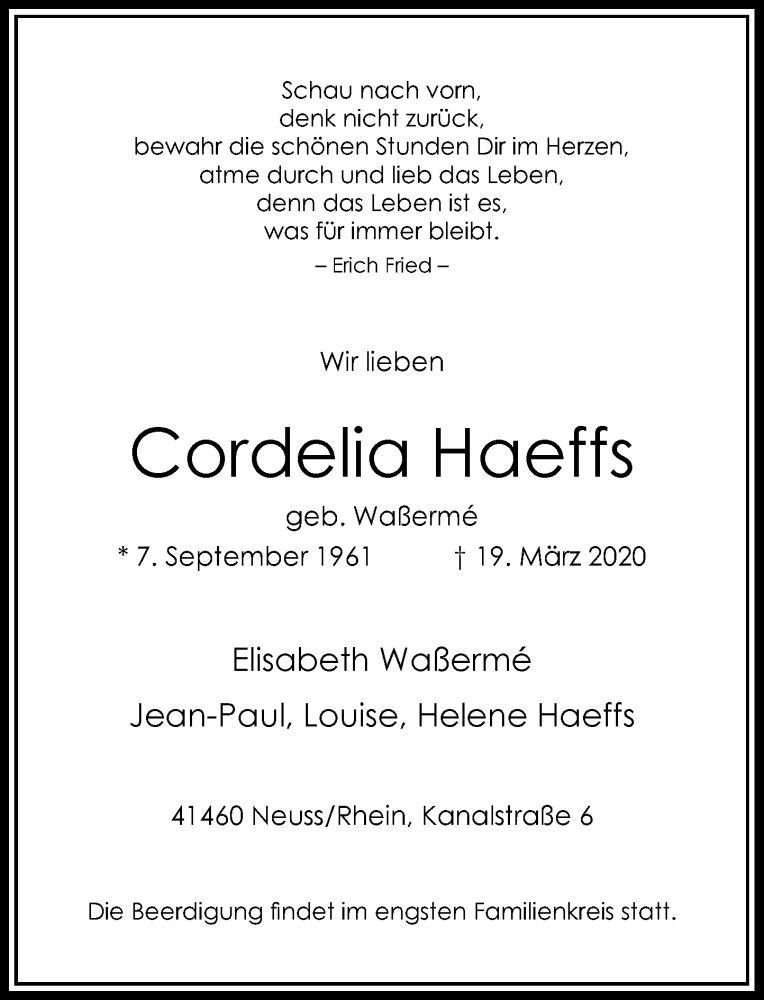 Anzeige von  Cordelia Haeffs