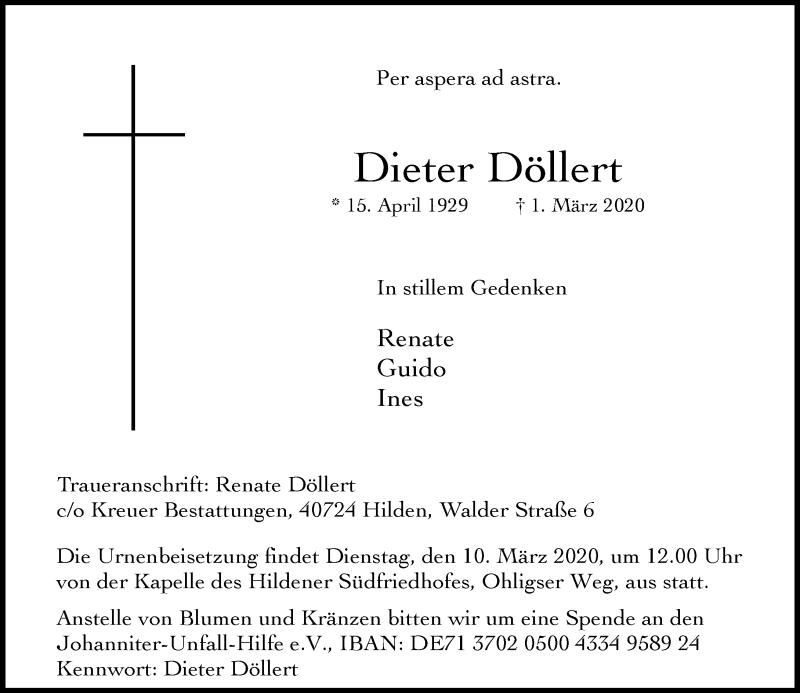 Anzeige von  Dieter Döllert