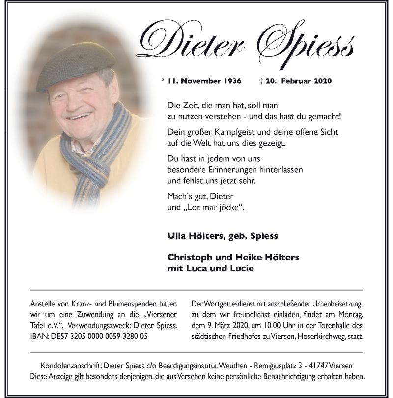 Anzeige von  Dieter Spiess