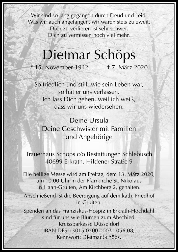 Traueranzeige für Dietmar Schöps vom 11.03.2020 aus Rheinische Post