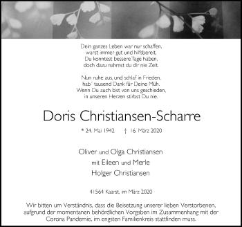 Traueranzeige von Doris Christiansen-Scharre von Rheinische Post