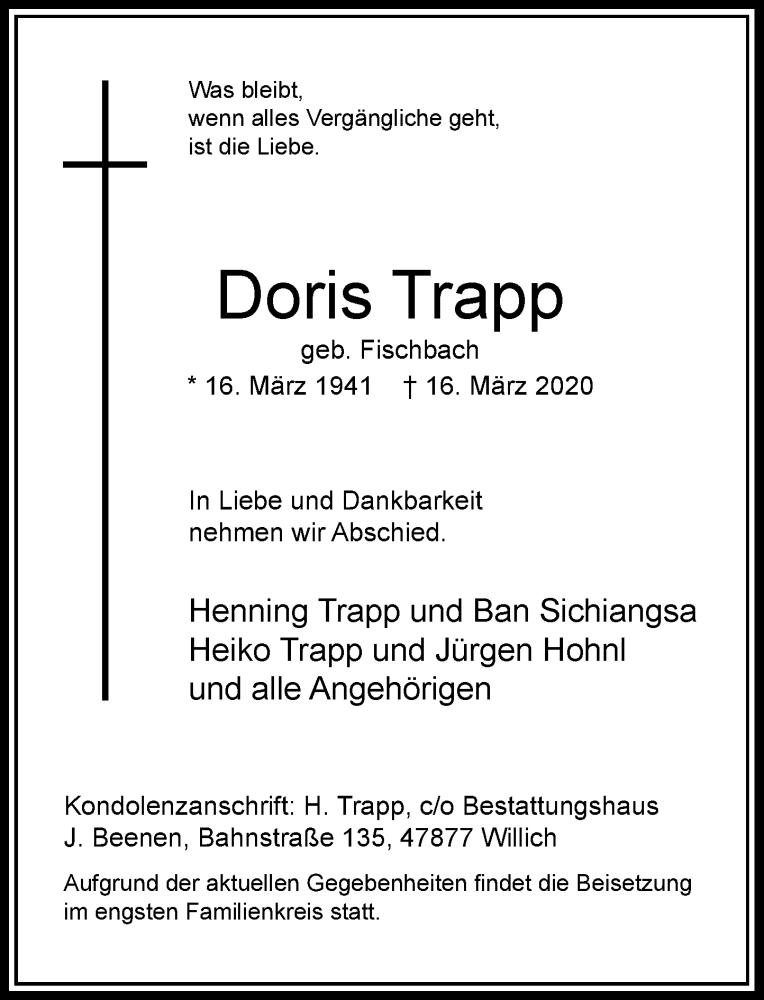 Anzeige von  Doris Trapp