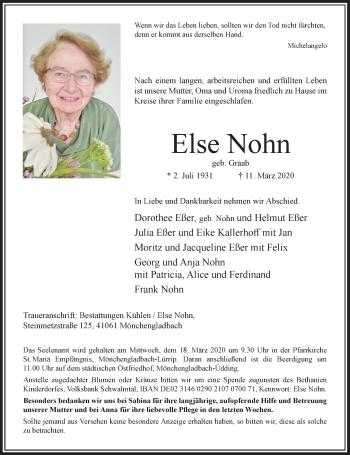 Traueranzeige von Else Nohn von Rheinische Post