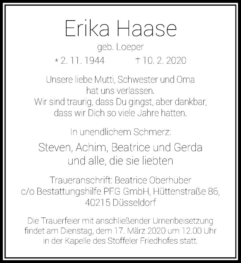 Traueranzeige für Erika Haase vom 11.03.2020 aus Rheinische Post