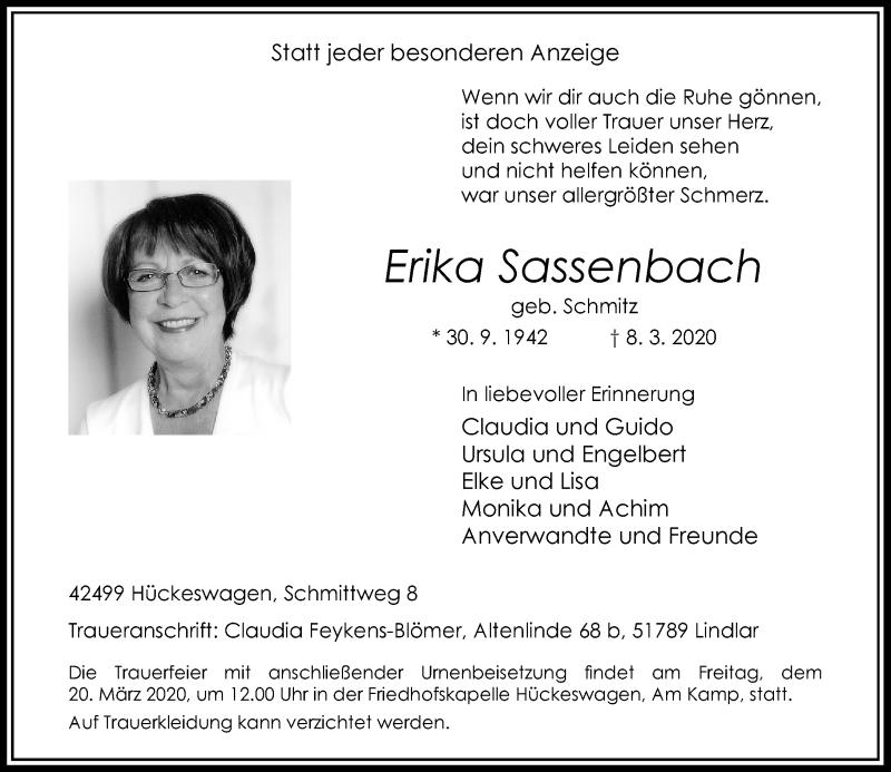 Anzeige von  Erika Sassenbach