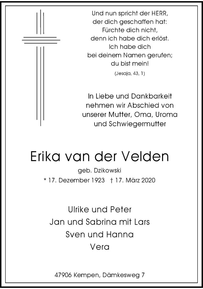 Anzeige von  Erika van der Velden