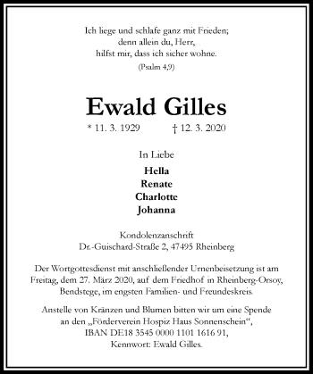 Traueranzeige von Ewald Gilles von Rheinische Post
