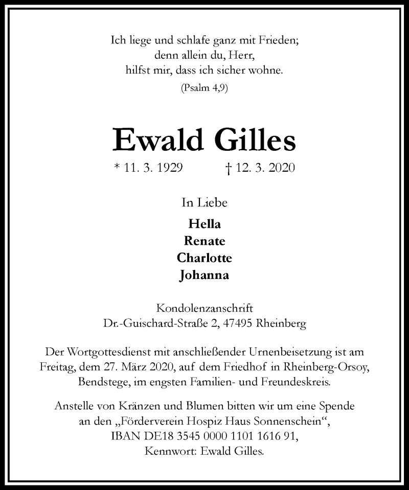 Anzeige von  Ewald Gilles