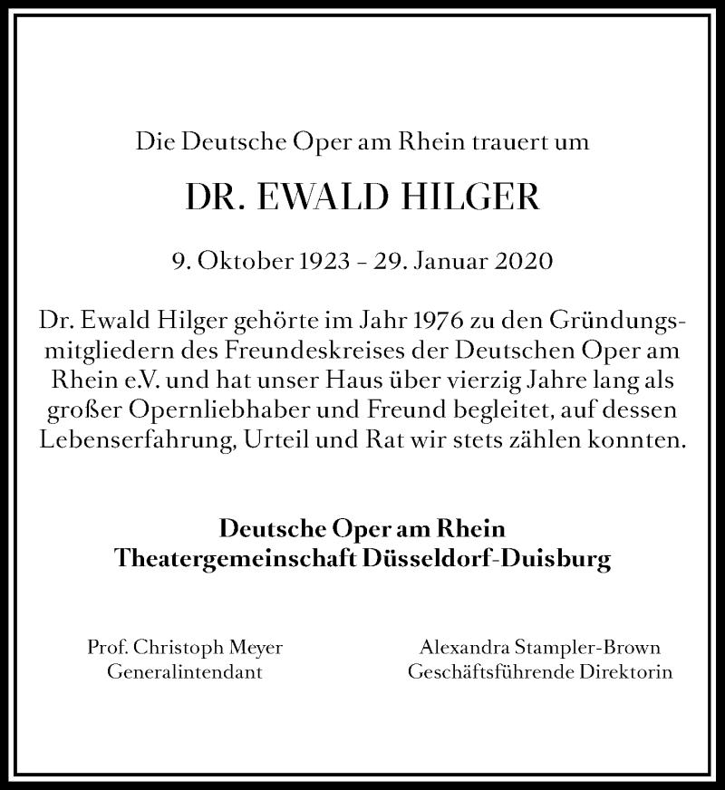 Traueranzeige für Ewald Hilger vom 15.02.2020 aus Rheinische Post