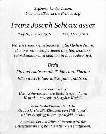 Traueranzeige von Franz Joseph Schönwasser von Rheinische Post