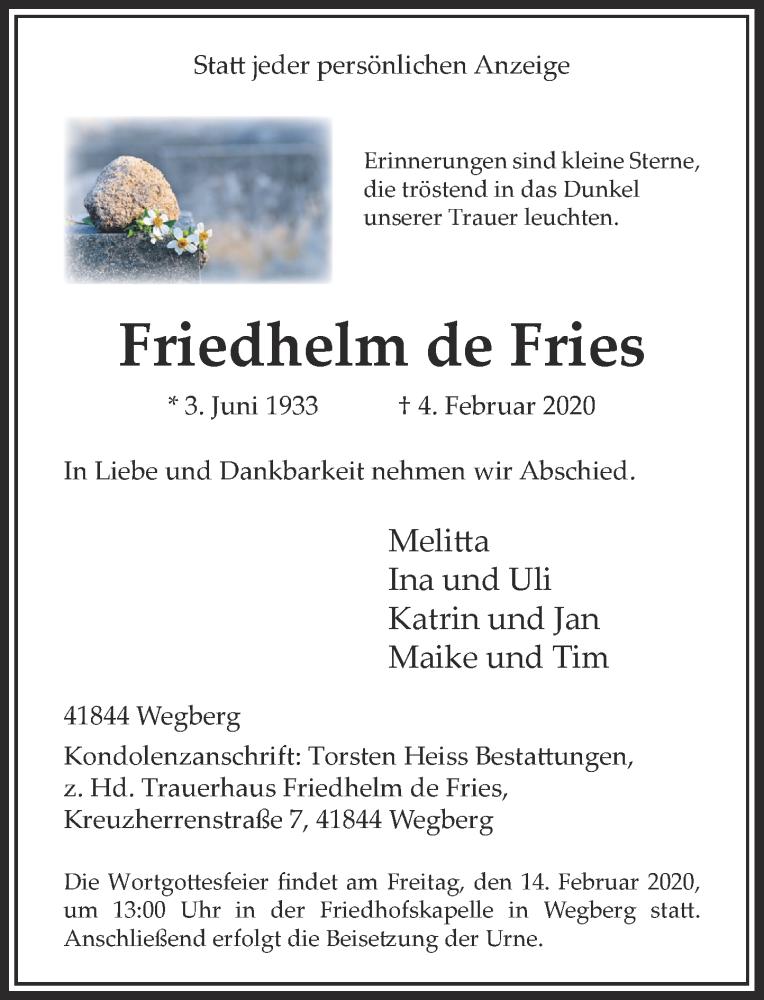 Traueranzeige für Friedhelm de Fries vom 08.02.2020 aus Rheinische Post