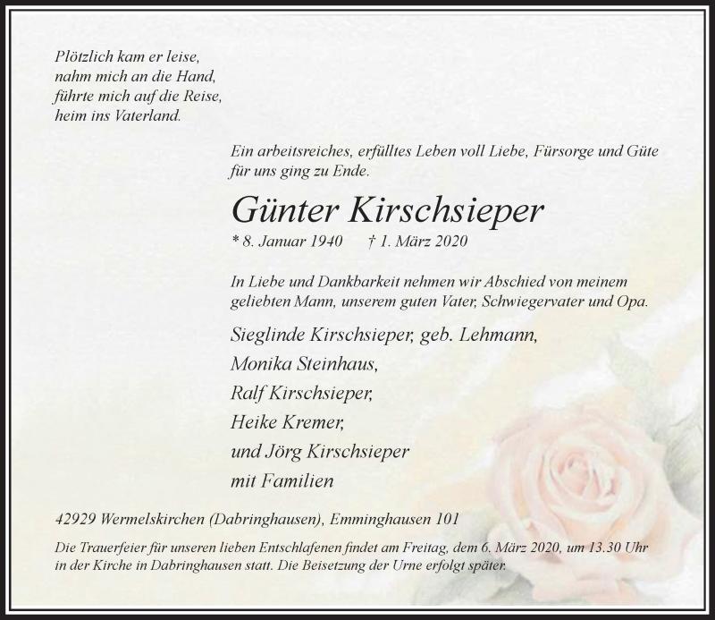 Anzeige von  Günter Kirschsieper