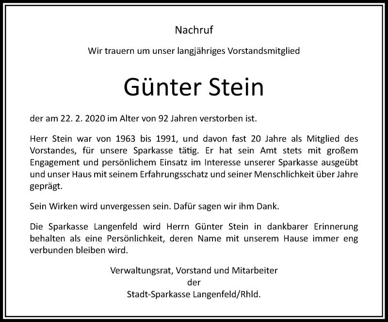 Anzeige von  Günter Stein