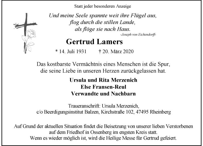 Traueranzeige für Gertrud Lamers vom 25.03.2020 aus Rheinische Post