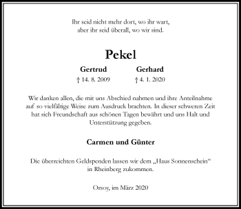 Traueranzeige von Gertrud und Gerhard  von Rheinische Post