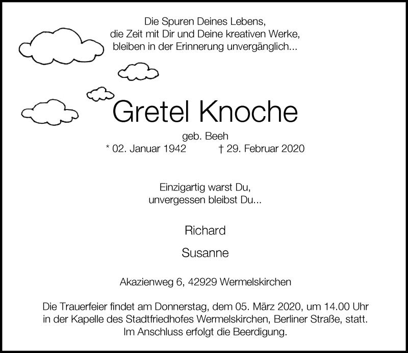 Anzeige von  Gretel Knoche
