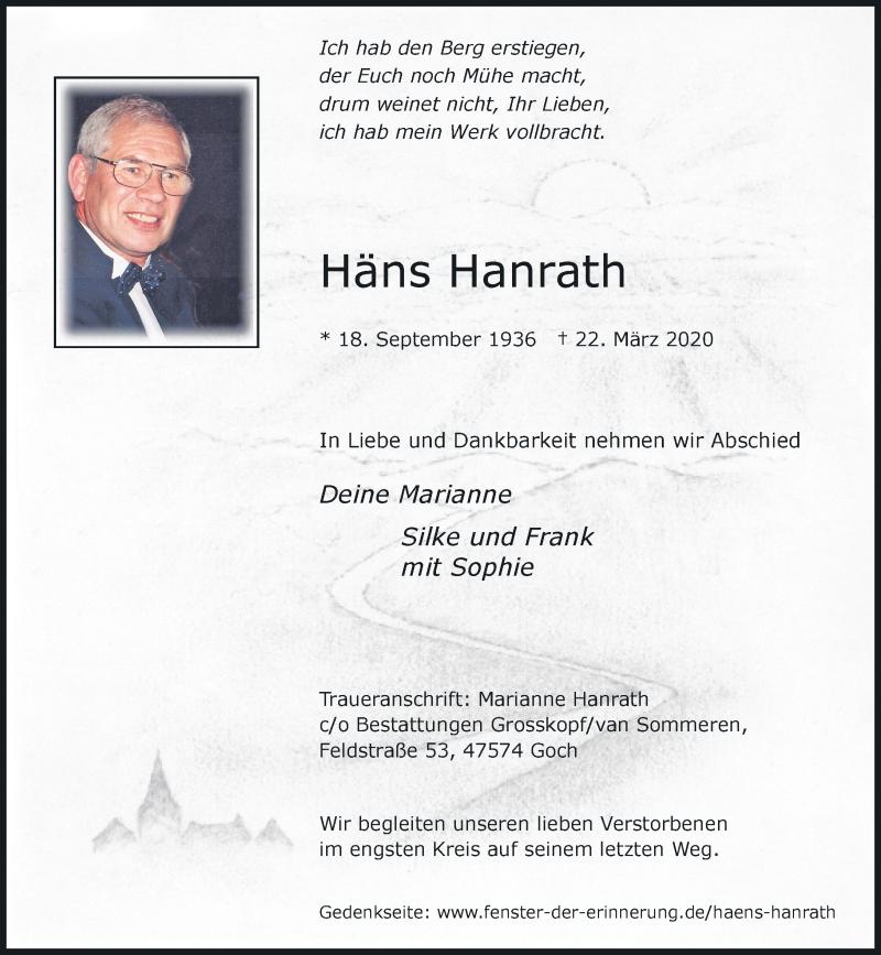 Traueranzeige für Häns Hanrath vom 25.03.2020 aus Rheinische Post