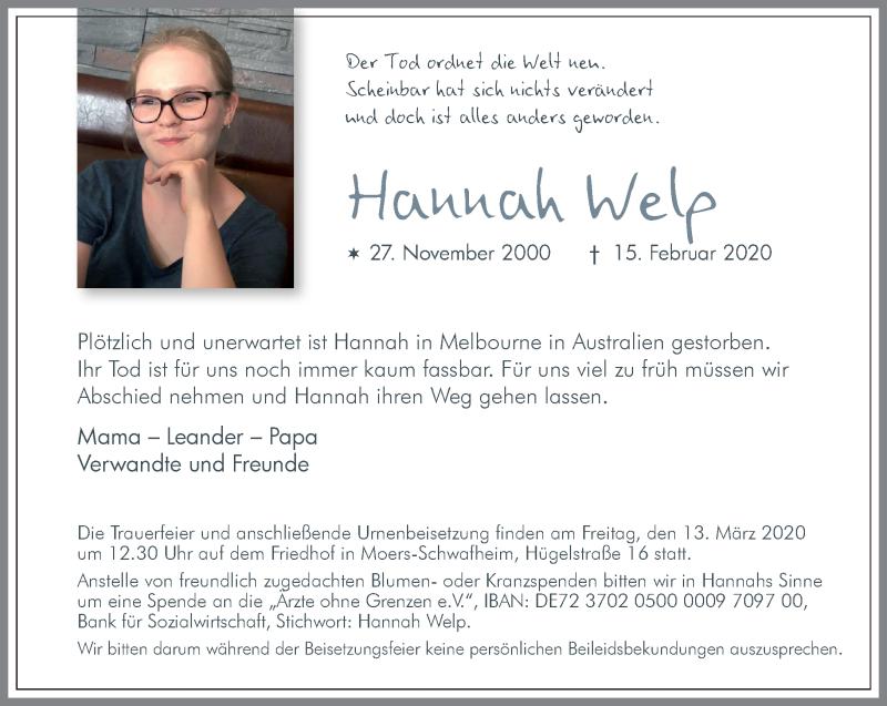 Anzeige von  Hannah Welp