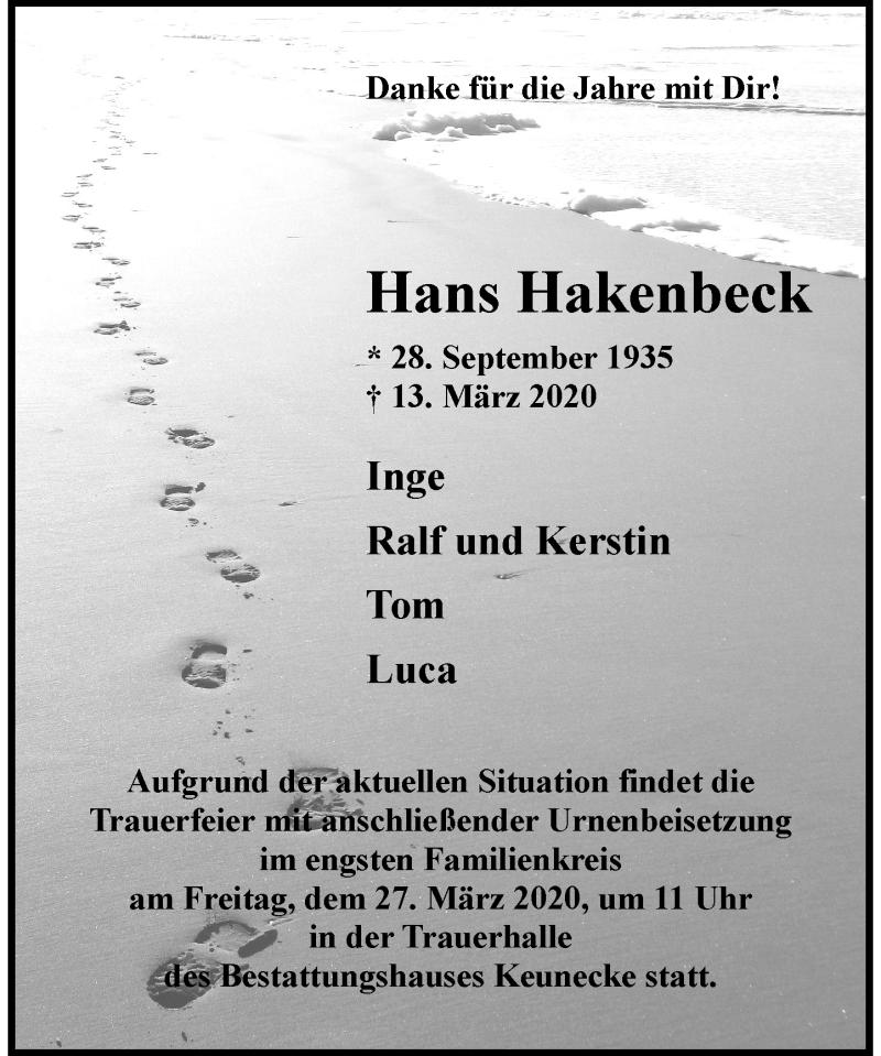 Anzeige von  Hans Hakenbeck