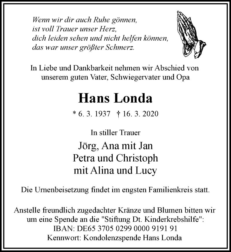 Anzeige von  Hans Londa