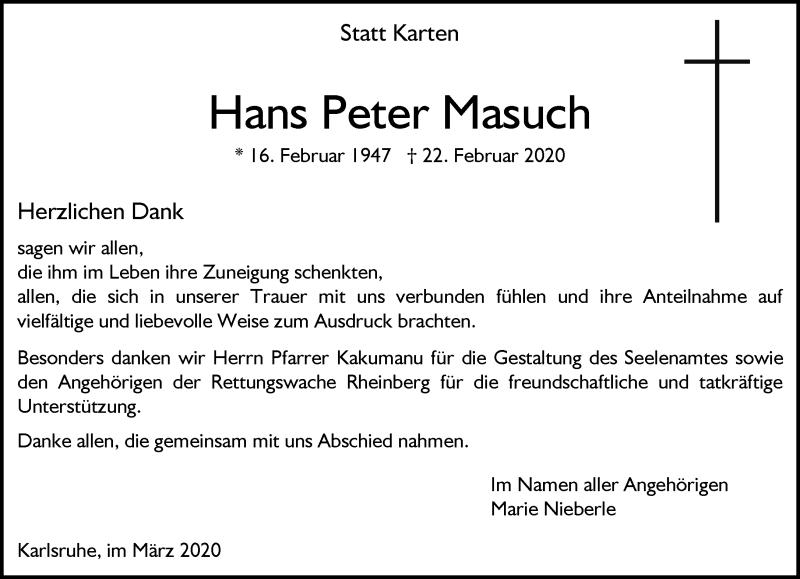 Anzeige von  Hans Peter Masuch