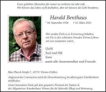 Traueranzeige von Harald Benthaus von Rheinische Post