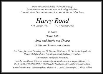 Traueranzeige von Harry Rond von Rheinische Post