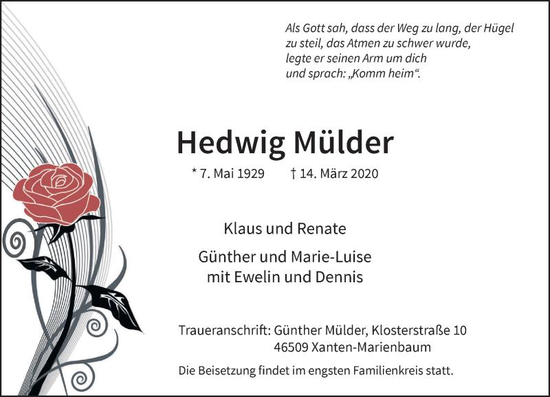 Anzeige von  Hedwig Mülder