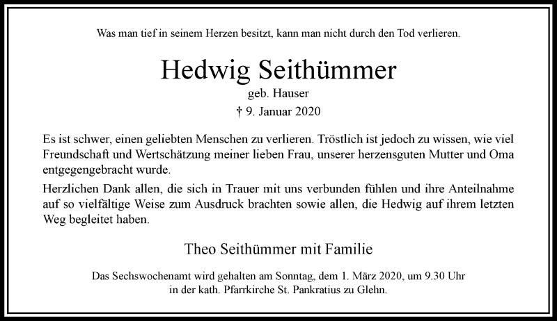 Anzeige von  Hedwig Seithümmer