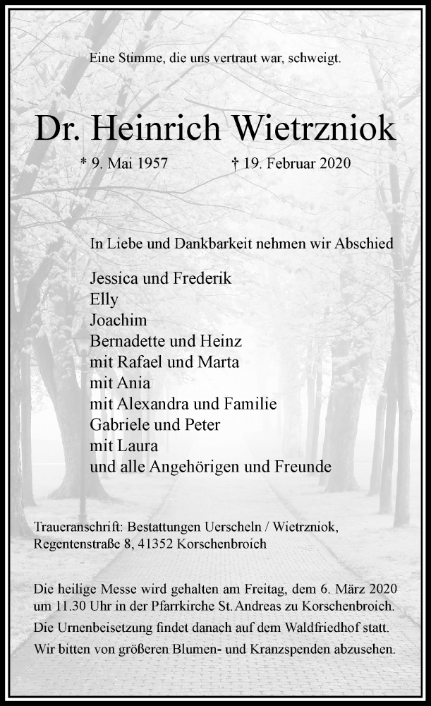 Anzeige von  Heinrich Wietrzniok