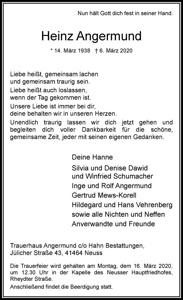 Anzeige von  Heinz Angermund