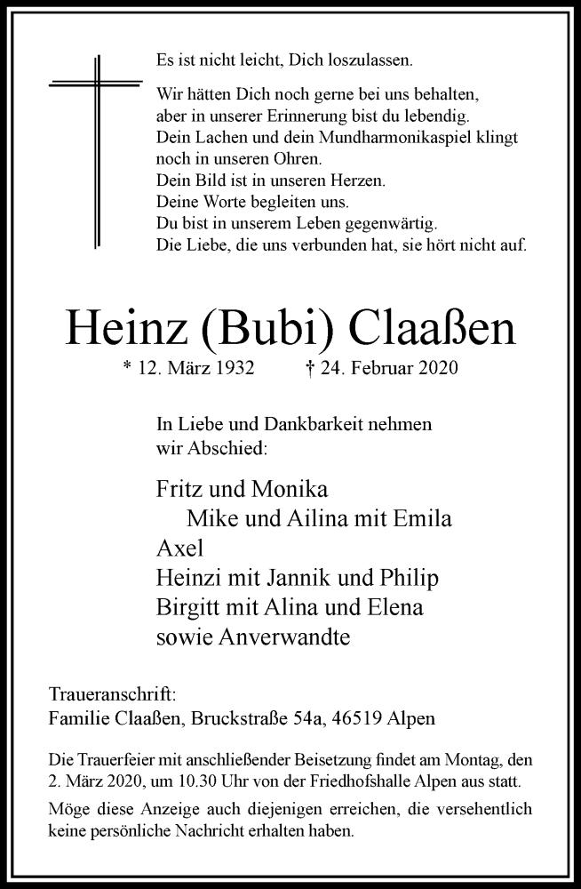 Traueranzeige für Heinz Claaßen vom 27.02.2020 aus Rheinische Post