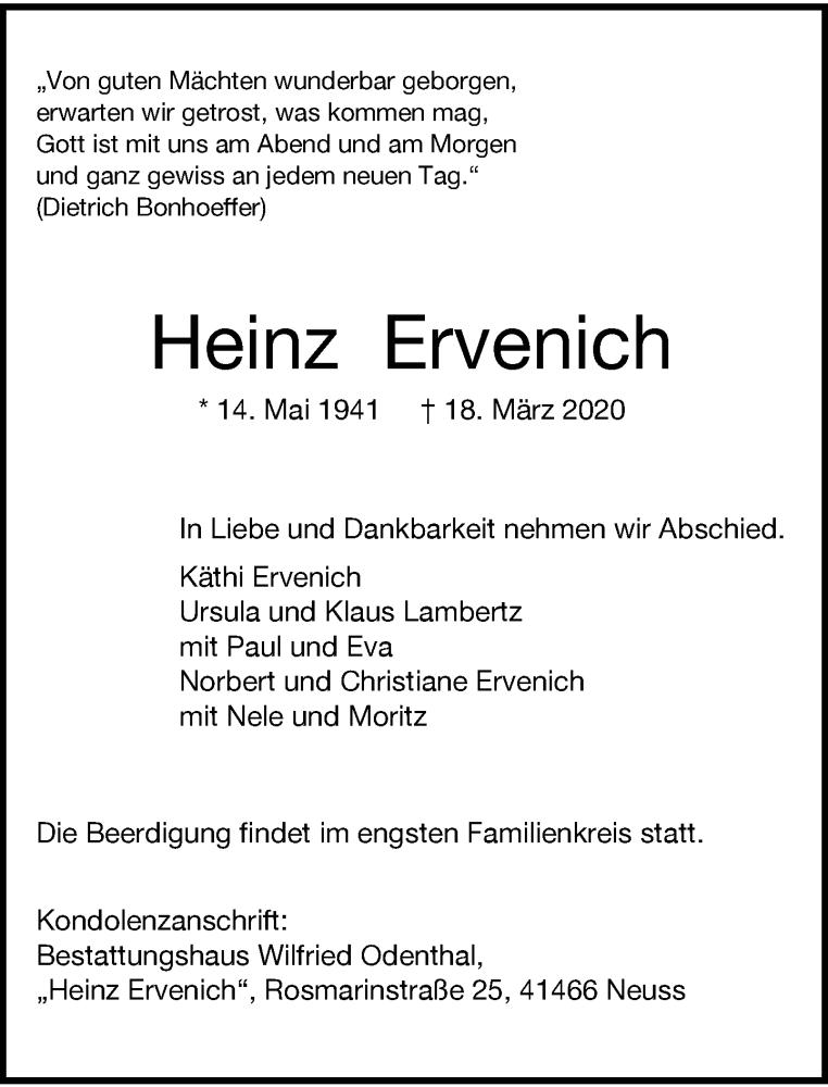 Anzeige von  Heinz Ervenich