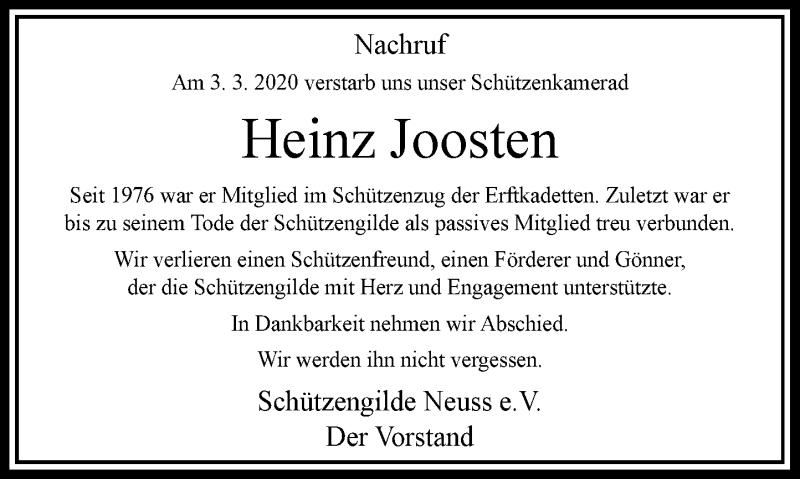 Anzeige von  Heinz Joosten