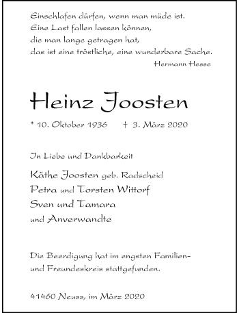 Traueranzeige von Heinz Joosten von Rheinische Post