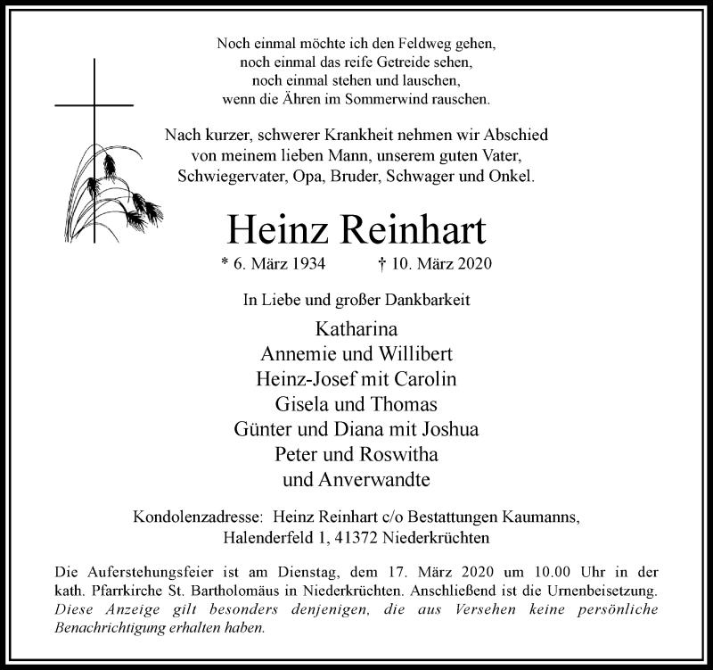 Anzeige von  Heinz Reinhart