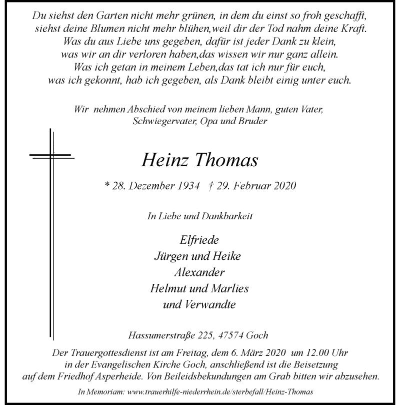 Anzeige von  Heinz Thomas