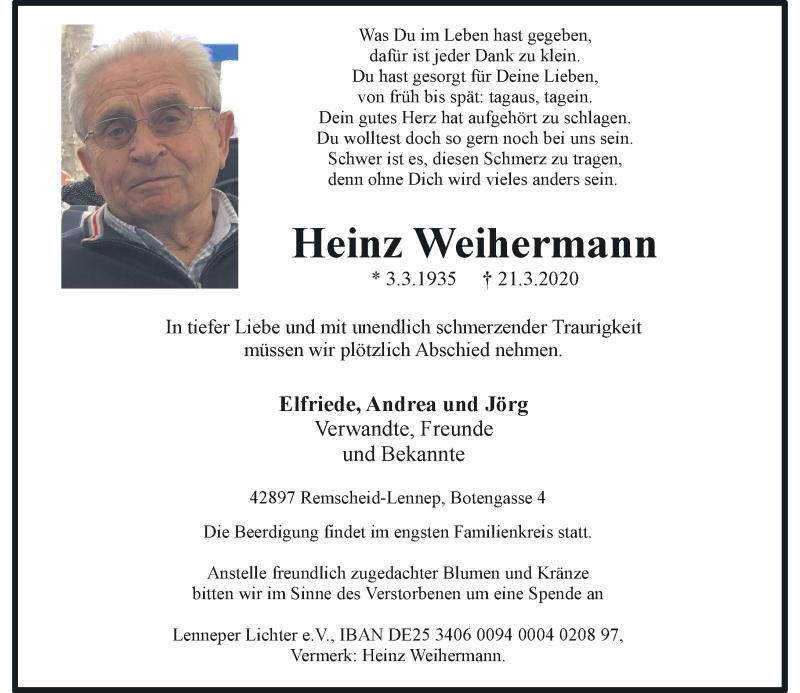 Anzeige von  Heinz Weihermann
