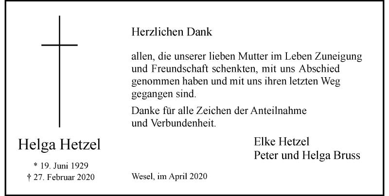 Anzeige von  Helga Hetzel