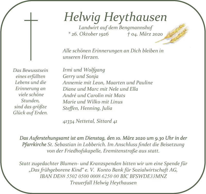 Anzeige von  Helwig Heythausen